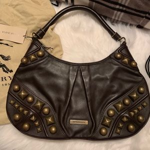 Burberry Studded Alverton Brown Leather Hobo Bag